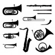 Music instruments vector set. Musical instrument silhouette on white background. — Stock Vector