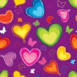 Hearts Multicolor Seamless Pattern. Abstract Paint-brushed Vector Background. — Stock Vector