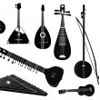 Ethnic music instruments vector set. Musical instrument silhouette on white background. — Stock Vector