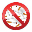 Sign forbidding to smoke and inscription made of cigarettes on pure background — Stock Vector