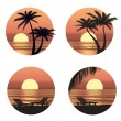 Stock Vector: Sunset view at resort. Relaxing in the evening on beach with palm tree. Vector icons set.