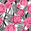 Pink flowers seamless background. Floral seamless texture with peony flowers. Vector Graphic. — Stock Vector