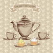 Tea cup, pastry and kettle retro card. Tea time vintage label. — Stock Vector #27568791