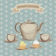 Tea cup, pastry and kettle retro card. Tea time vintage label. — Stock Vector #27568815