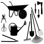 Gardening tools isolated on white background. Garden equipment silhouette vector set. — Stock Vector