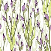 Naadloze bloemmotief. bloemen iris en bladeren achtergrond. — Stockvector