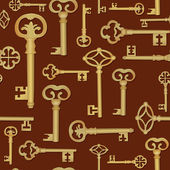 Vintage key seamless background. — Stock Vector