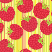 Raspberry seamless background. Seamless pattern of realistic image of delicious ripe berries — Stock Vector