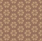 Bezešvé vzor s bleskem ornament na čokoládové hnědé pozadí. květinový retro textura — Stock vektor