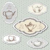 Herbata puchar i czajnik retro karty. herbata czas vintage etykieta. puchar i pot etykieta herbata zestaw w stylu vintage. — Wektor stockowy