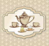 Tea cup, pastry and kettle retro card. Tea time vintage label. — Stock Vector