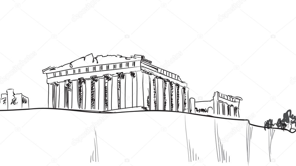 Acropolis Hill in Athens. Hand drawn landmark - ancient greece ...