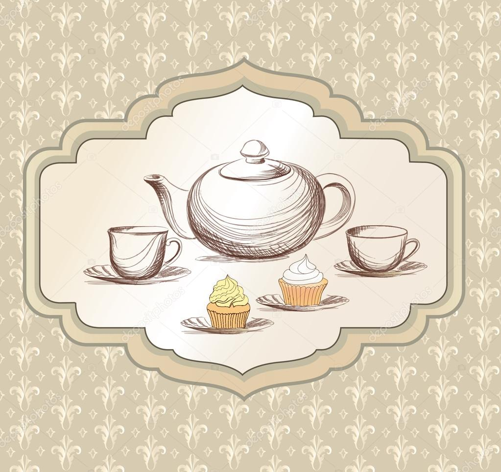 tea cup pastry and kettle retro card tea time vintage label tea cup and pot label in vintage. Black Bedroom Furniture Sets. Home Design Ideas