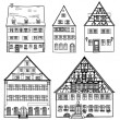 Set of hand drawn houses — Vettoriali Stock