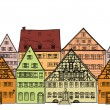 Houses seamless border. Old town cityscape. — Stock Vector