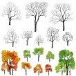 Seasons tree symbol icon set — Stock Vector