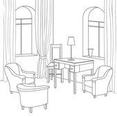 Skizze eines interieurs. kabinett. — Stockvektor