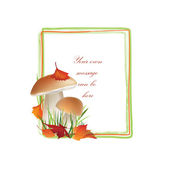 Autumn frame. Mushrooms vector background with copy space — Stock Vector