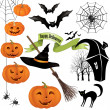 Halloween icons vector set. — Stock Vector