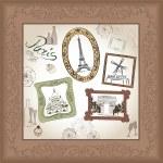 Paris illustration set. Love paris frame vintage collection. French cafe — Stock Vector #32518425