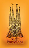 "Frontal view ""La Sagrada Familia"" — Stock Vector"