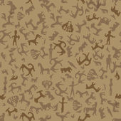 Cave painting animals seamless background. — Stock Vector