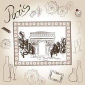 Arch of Triumph vector picture in frame. Paris illustration set. Love paris frame vintage collection. Scrapbooking pencil hand drawing kit. — Stock Vector