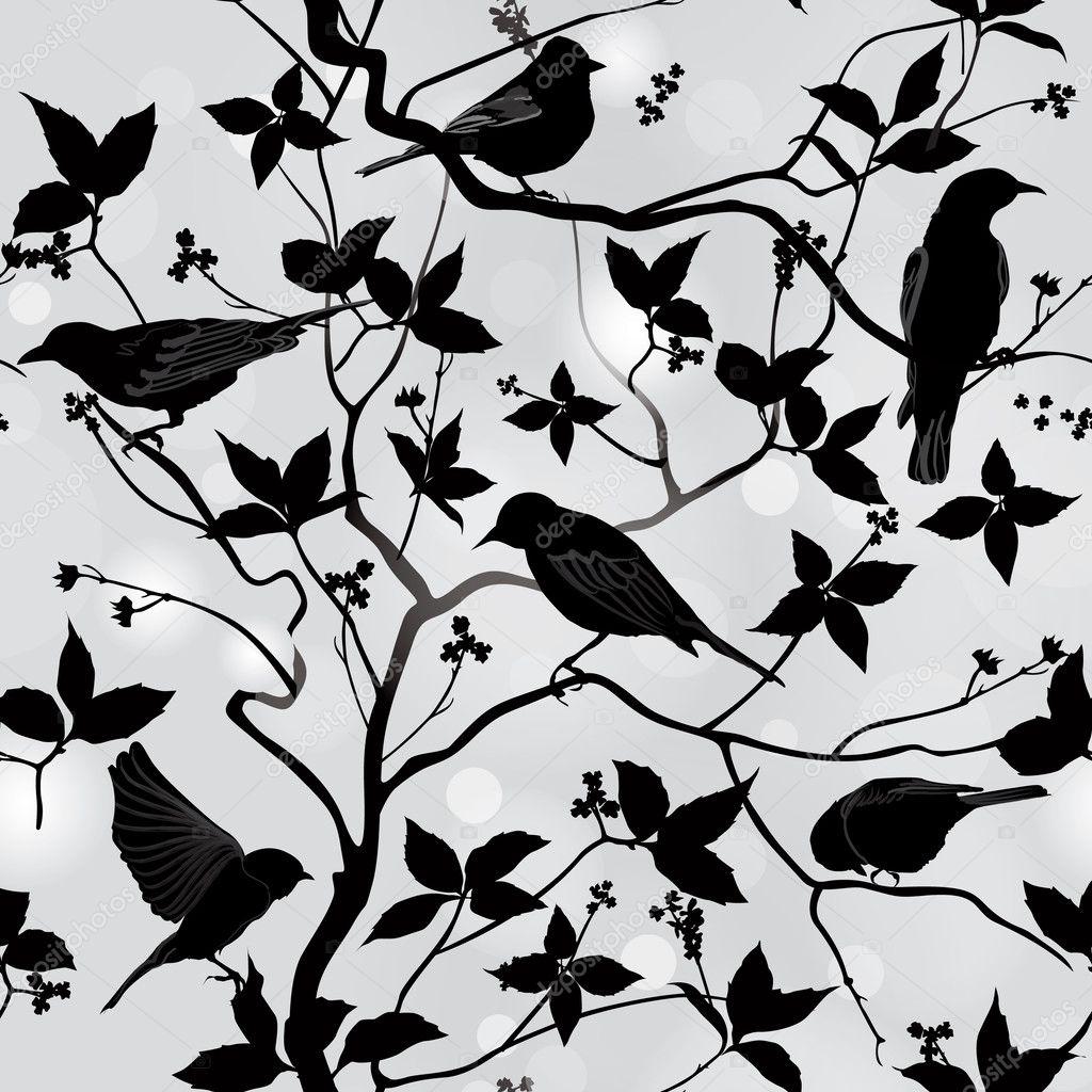Birds Silhouette on Branch
