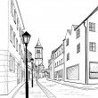 Old european city street — Stock Vector