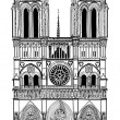 Notre Dame de Paris cathedral, France — Stock Vector