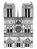 Notre Dame de Paris cathedral, France — Stock Vector