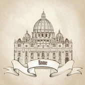 St. Peter's Cathedral, Rome — Stock Vector