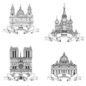 Notre Dame, St Paul, St. Peter, St. Basil Cathedral — Stock Vector