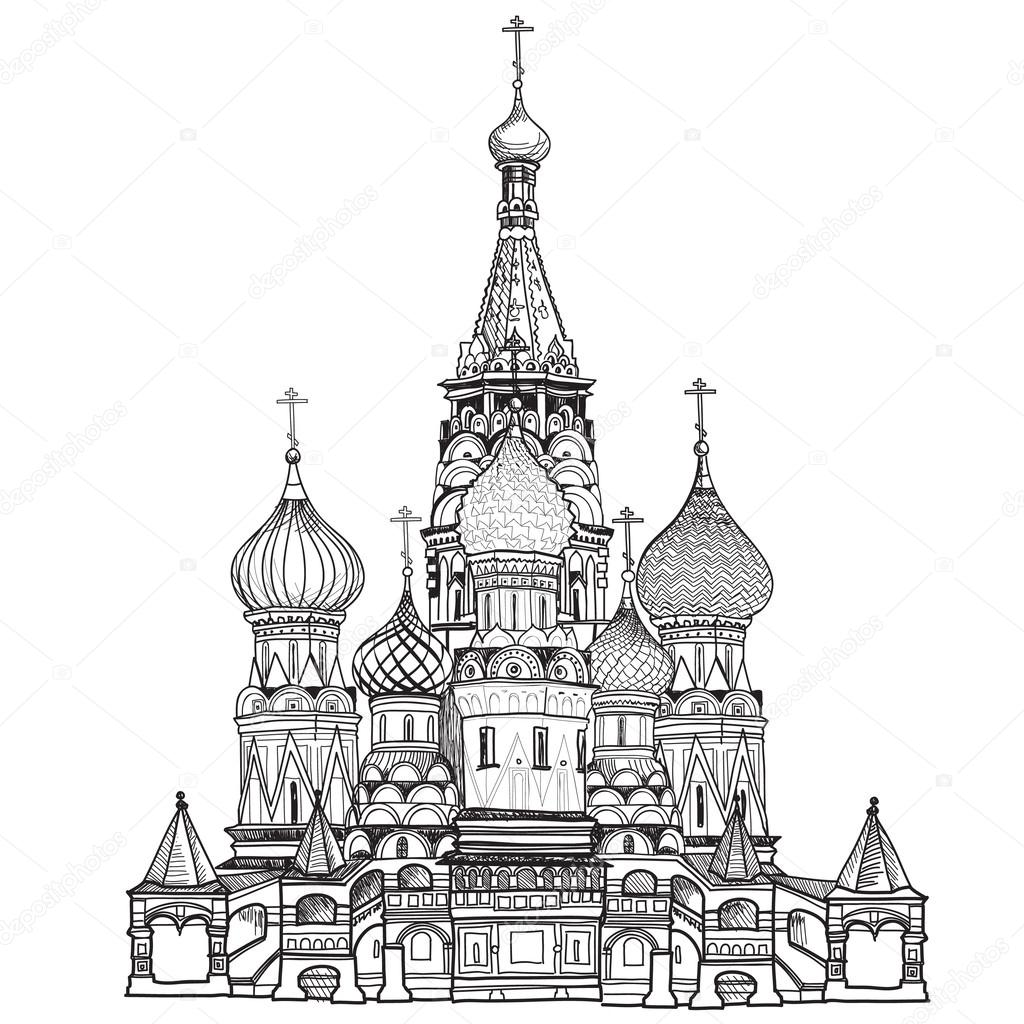 Moscow Kremlin Drawing Red Square Moscow