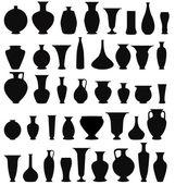 Vase set. Pot Pottery Vases Flower Home Interior Decoration. — Stock Vector