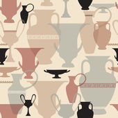 Greek vase seamless pattern. Interiors background. — Vecteur