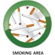 Smoking area label. — Stock Vector