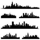 Chicago Illinois various skyline silhouette set. — Stock Vector