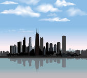 Chicago city skyline detailed silhouette — Stock Vector