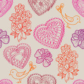 Love pattern with hearts and flowers. — Vetor de Stock