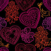 Holiday pattern with hearts and flowers — Stock vektor
