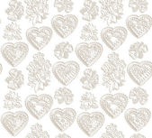 Romantic pattern with hearts and flowers. — Vetorial Stock