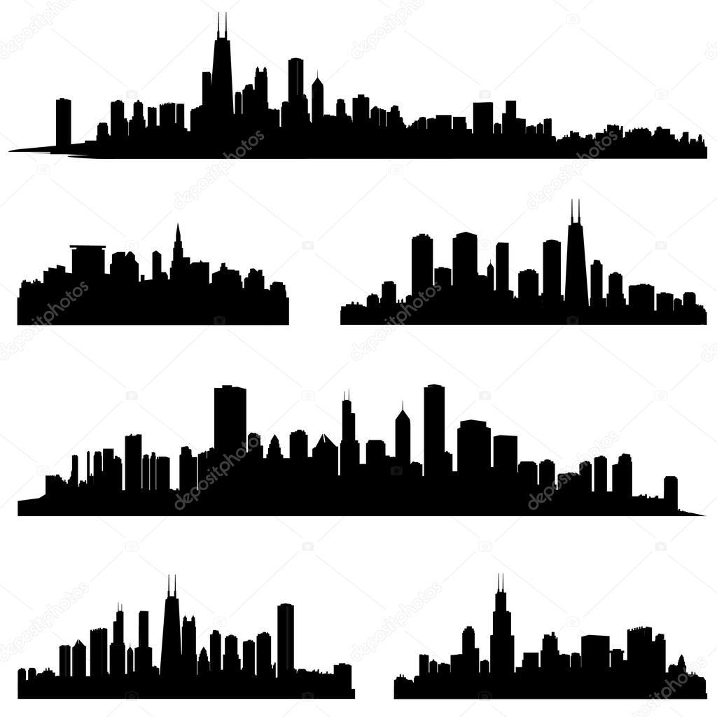 Chicago Illinois Various Skyline Silhouette Set.