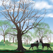 Постер, плакат: Spring landscape with two deers