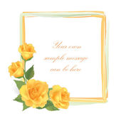 Yellow rose frame — Stock Vector