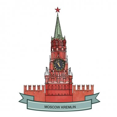 Moscow City symbol. Kremlin lndmark sketch illustrarion.