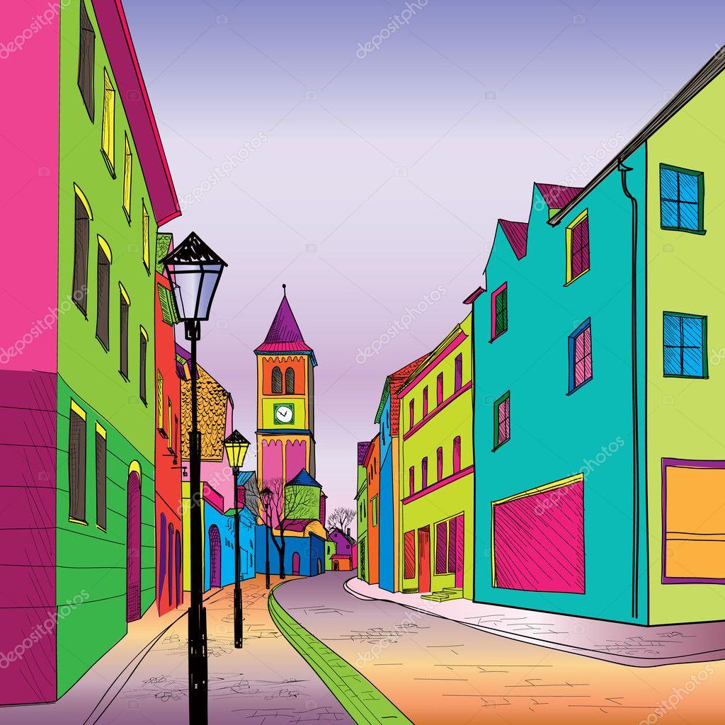 Картинка с улицей рисованная