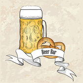 Beer Mug with pretzel — Stock Vector