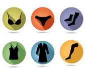 Conjunto de ropa interior femenina. — Vector de stock
