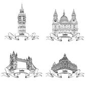 London famous buildings set. — Stock Vector